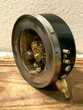 "Large 6 "" One - Of - A - Kind Vintage Mercoid Pressure Gauge,  Switch,  Brass,  Steampunk"