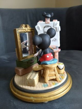 Vintage Mickey Mouse Painting Walt Disney Self Portrait Figurine Ceramic Rare