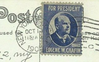 Rare 1908 Eugene W Chafin President Stamp Prohibition Party Whitehouse Dover Nh
