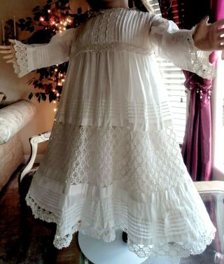 Large Antique Lace,  Pin Tucks Doll Dress For French Jumeau Bru Or German Doll