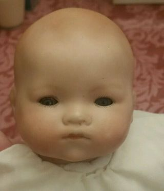 """Armand Marseille """" Baby Phyllis """" Blue Eyes Bisque Sleeping Doll White Dress Lace"""