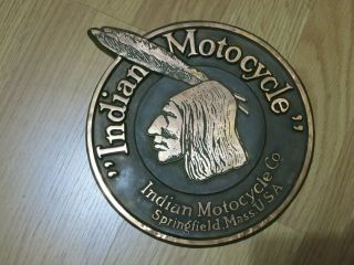Antique Vintage Early Indian Motorcycle Dealership Copper Medallion