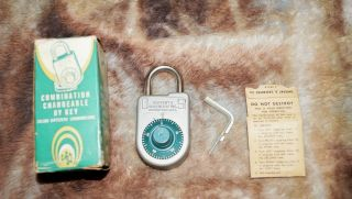 Vintage Nos Combination Changeable Padlock By Key Lock Sargent & Greenleaf Inc