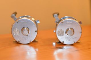Twin Vintage Abu Garcia Ambassadeur 5500c Reels Made In Sweden Well Maintained