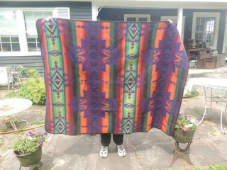 "Vintage Pendleton Style Blanket Indian Pattern No Label,  61 "" By 47 """