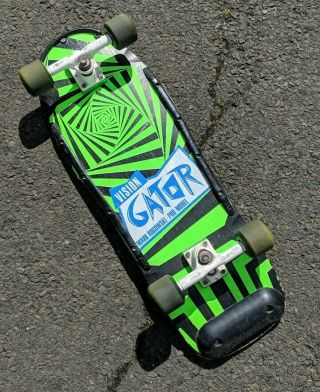 "Vtg Og 80s Vision Skateboards Mark "" Gator "" Rogowski Green Spiral Pro Model Deck"