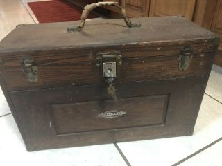 Vintage Machinist Tool Chest Box Wood Craftsman With Key