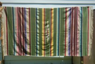 Vintage Antique Mexican Saltillo Serape Wool Fringed Blanket Southwestern 48x85