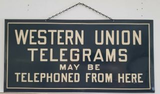 Vintage Western Union Telegrams Advertising Sign Tin Signed
