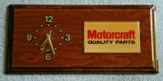 Vintage Solid Wood Laquer Dealership Ford Motorcraft Quality Parts Clock 11x23
