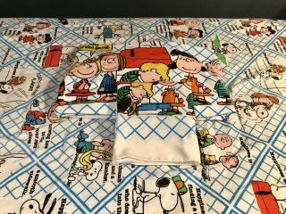 """Vintage 1978 Peanuts Twin Bed Sheets Pillowcase """"happiness Is"""" Complete Twin Set"""