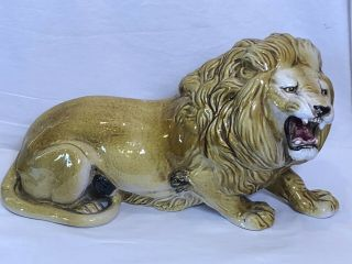 Vintage Glazed Chalkware Ceramic Lion Statue Figure Made In Italy