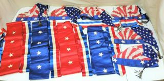 Vtg Ww2 Era 4th Of July Parade Outfits Red White & Blue Sashes 48 Star Flag Hats