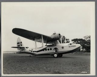 Dnl Det Norske Luftfartselskap Sikorsky S - 43 Flying Boat Large Vintage Photo