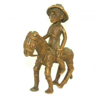 Vintage Old African Tribal Bronze Statue Figurine Man On Horse Spiral Circles
