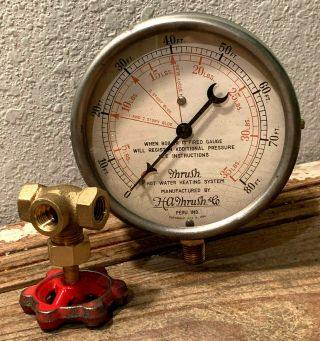"Large 5 "" Vintage Thrush Brass Pressure Gauge Gauge,  Steampunk,  Valve,  Antique"