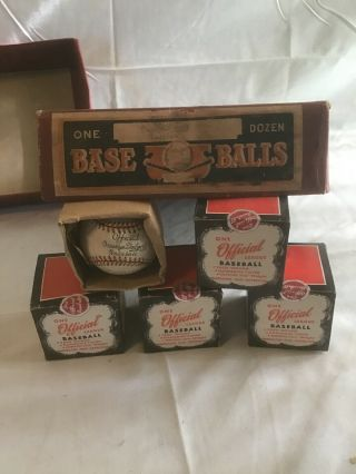 Five Rawlings Official Brooklyn Dodgers Baseball Horsehide Vintage Nos Base Ball