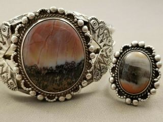 Vntg Expertly Crafted Navajo Petrified Wood Bracelet & Ring Matching Set