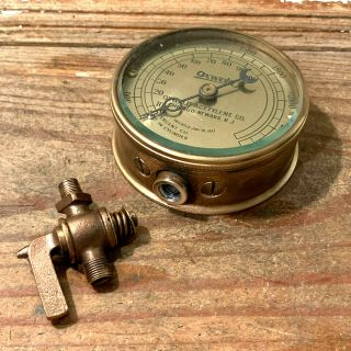 Dated 1917: Large Vintage Brass Pressure Gauge Design,  Beveled Glass,  Steampunk