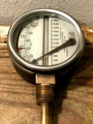 Vintage Brass Temperature & Pressure Gauge By Ashcroft,  Steampunk,  Antique