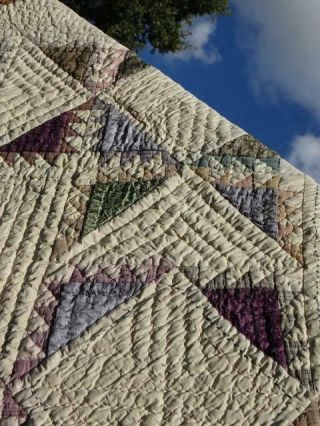 Exquisite Feathered Country Rustic Star Fabulous Earth Jewel Tones Vintage Quilt
