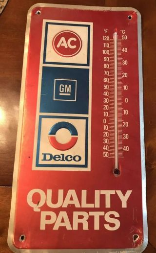 Vintage Gm Ac Delco Quality Parts Advertising Thermometer Dealership Sign
