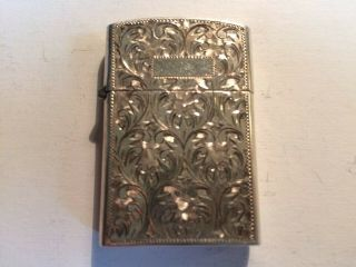 Vintage Sterling Silver Cigarette Lighter Hand Tooled Unengraved