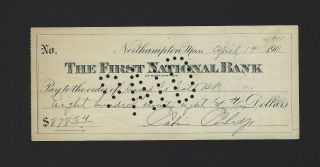 Calvin Coolidge Signed First National Bank Check,  30th President Jsa Loa Rare