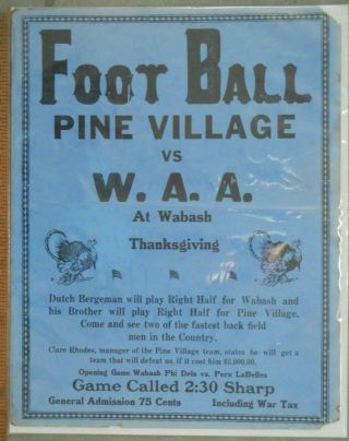 Rare Ww1 Pre Nfl Poster Pine Village In.  Vs W.  A.  A.  At Wabash Jim Thorpe,  More