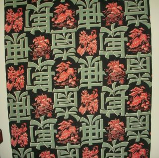 Vintage Asian Inspired Barkcloth In Fabulous