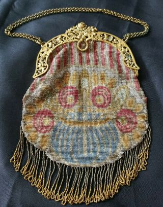 Made In France Antique Beaded Evening Bag W/fringe,  Metal Frame,  Chain Handle
