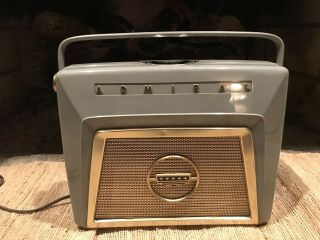 Vintage Admiral Model 4z19 Portable Tube Radio In Cond.  &