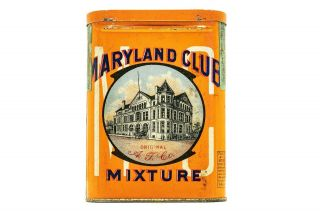 "Very Rare 1910s "" Maryland Club "" Litho Pocket Tobacco Tin"