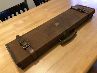 Holland & Holland Leather And Canvas Shotgun Case Vintage Rook Rifle
