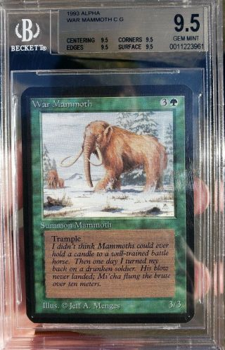 Vintage Magic | Mtg Bgs 9.  5 Alpha War Mammoth,  Quad,