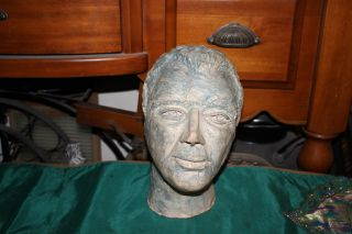 Vintage Sculpture Life Size Bust Of Man - Life Death Bust - White Male - Combed Hair