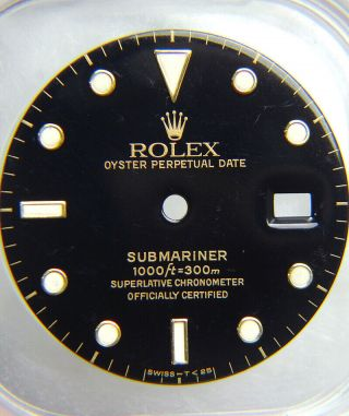 Vintage Factory Rolex Submariner 16613 16618 16803 Black Gold Watch Dial