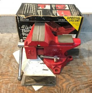 Nos Vintage Sears Swivel Bench Vise With Anvil 4 - 1/2 Inch.  9 - 51763