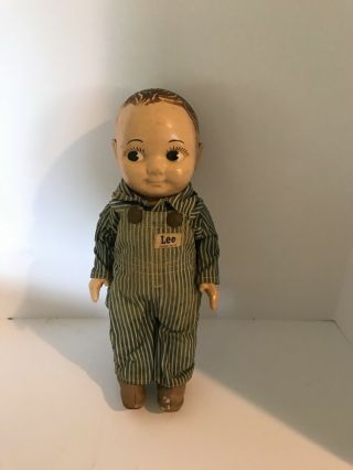 Vtg Buddy Lee Railroad Doll Union Made Striped Overalls Plastic