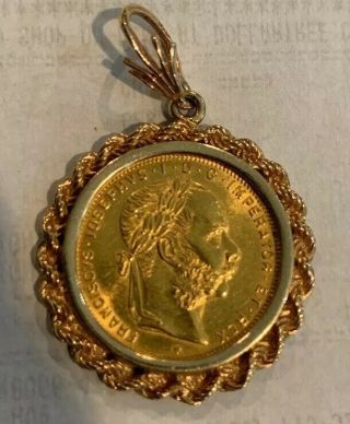 1892 Austria Solid Gold Coin Mounted In A 14k Hand Crafted Fine Vintage Pendant.