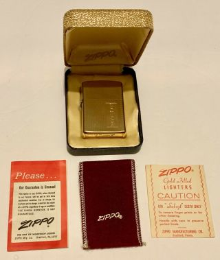 Zippo Lighter 10k Gold Filled With Papers Also Box Vintage