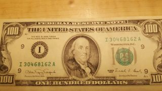 1990 (i) $100 One Hundred Dollar Bill Federal Reserve Note Minneapolis Vintage