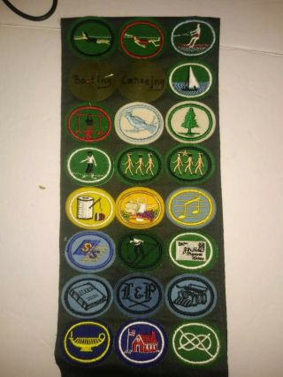 Vtg 1980s Sda Scouts Pathfinder Sash With Merit Badges And Camporee Patches,  Euc