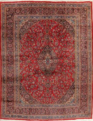 Vintage Traditional Red Floral Kashmar Area Rug Living Room Oriental Wool 10x13