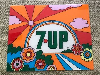 7 - Up Display Sign Vintage Pop Art Sun And Flowers.  C.  1970