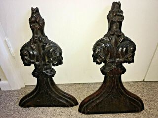Rare Antique 18th Century? Gothic Figural Carved Oak Church Pew Ends Bench Ends