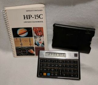 Vintage Hp 15c Scientific Calculator W/ Soft Case And Owner
