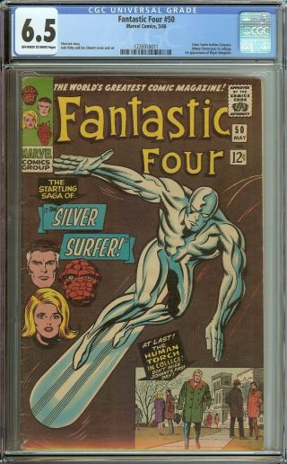 Fantastic Four 50 Cgc 6.  5 Vintage Marvel Comic Classic Silver Surfer Cover 12c