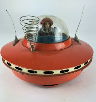 Vintage Cragstan Flying Saucer - Ufo Tin Toy - 1950 Ko Yoshiya Japan Space Ship
