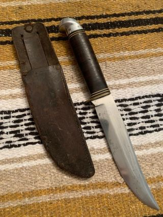 Vintage Rare 1950's Era Western Usa L44 Hunting Bowie Survival Knife W/sheath